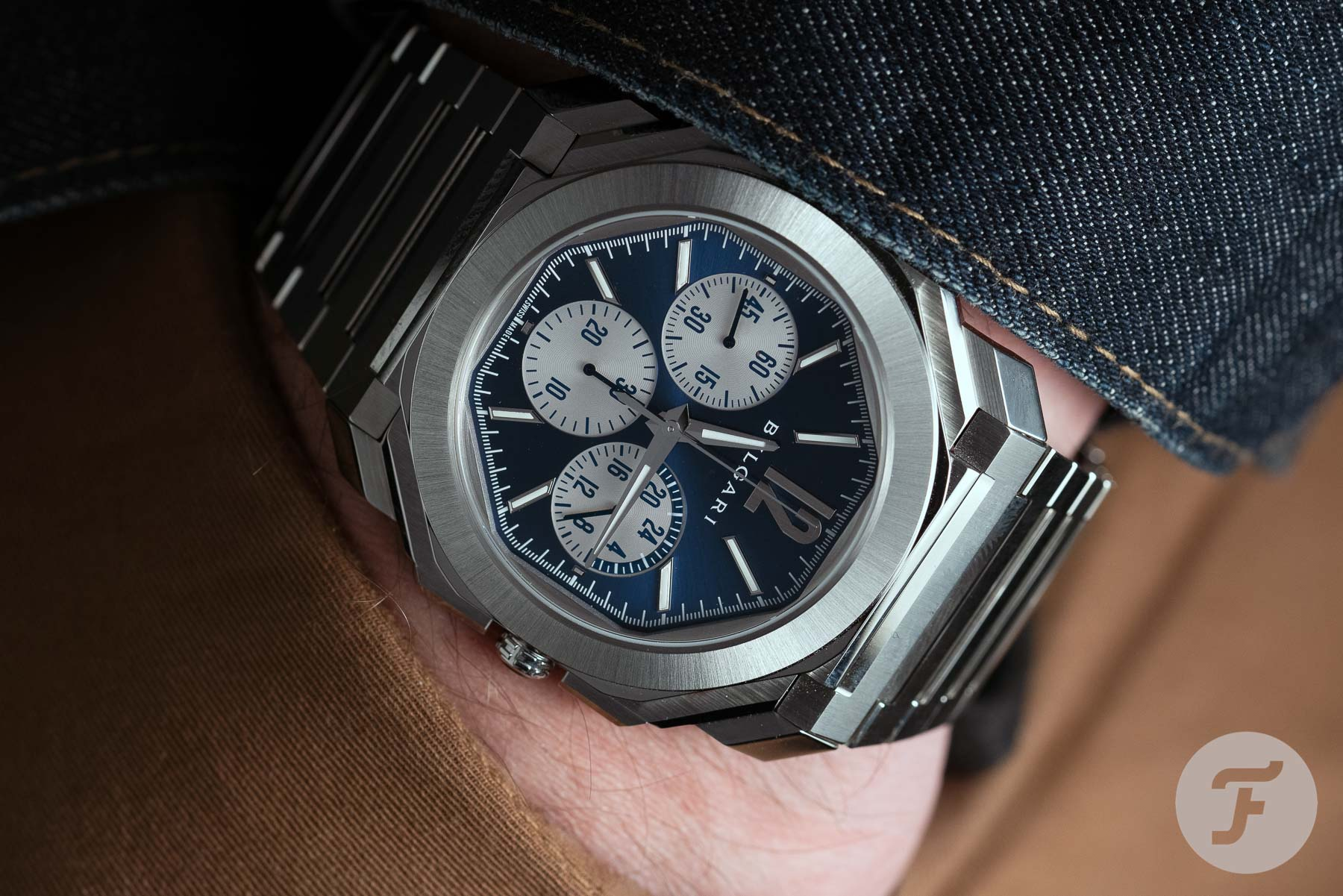 "Hands-On With The Bvlgari Octo Finissimo S Chronograph GMT ""Reverse Blue Panda"""
