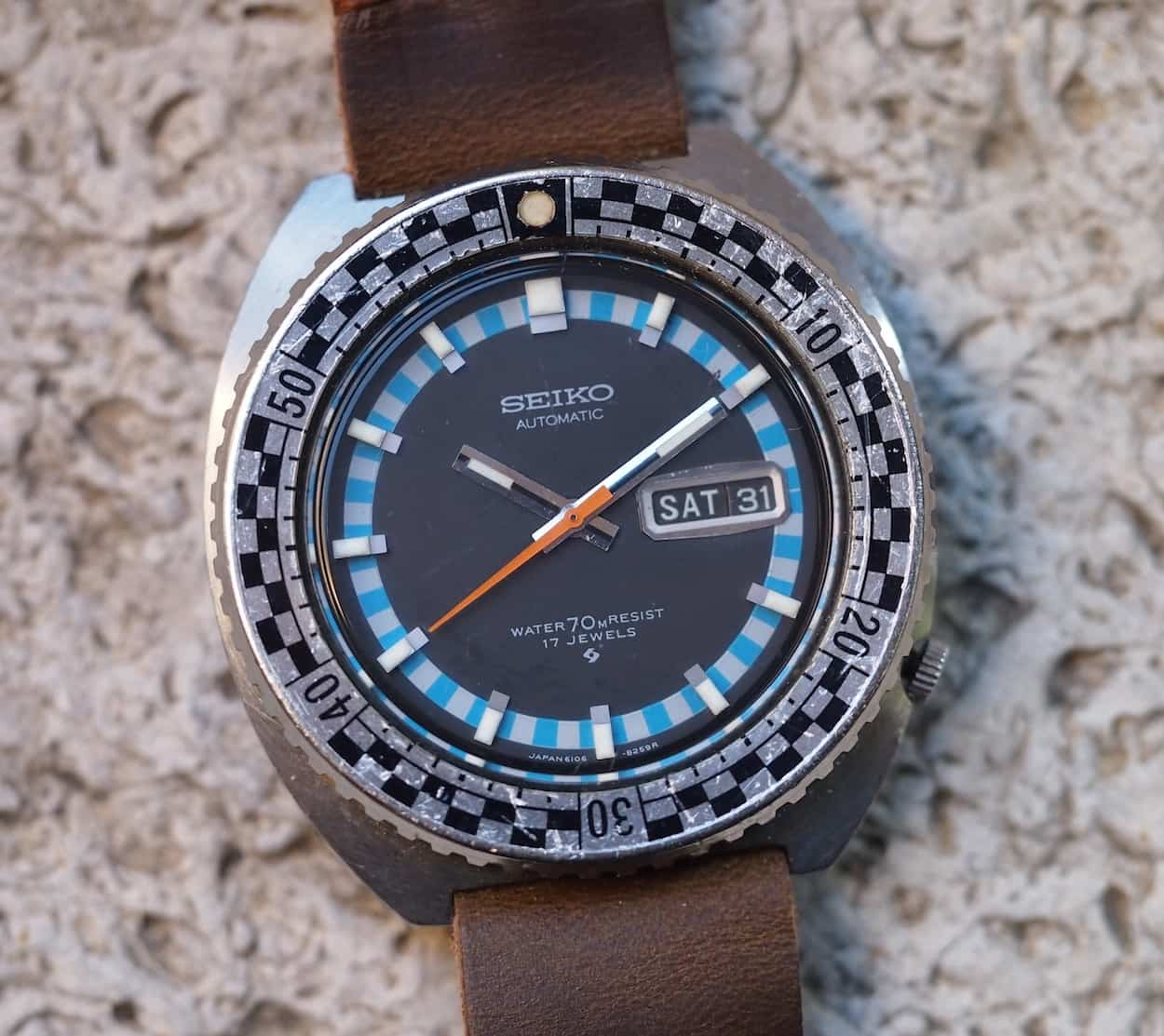 Black Bezel inset for Seiko Rally 6106-8229 and 6106-8227 Diver